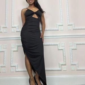 Long sexy side slit black dress